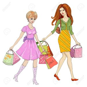 10422774-drawing-of-a-woman-with-shopping-Stock-Vector-cartoon-shopping-clothes